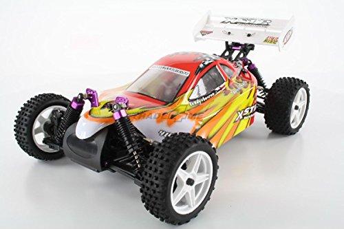 HSP Buggy XSTR Rot 1:10 4WD RTR 94107/10704 | Fahrfertiges 1:10 Offroad RC-Car | 2.4 Ghz Sender | Ladegerät mit 0,8A Ladestrom | Fahrakku | Fahrtregler 45A | Allradantrieb | Länge ca. 370mm | Breite ca. 245mm | Höhe ca. 130mm | Radstand ca. 275mm