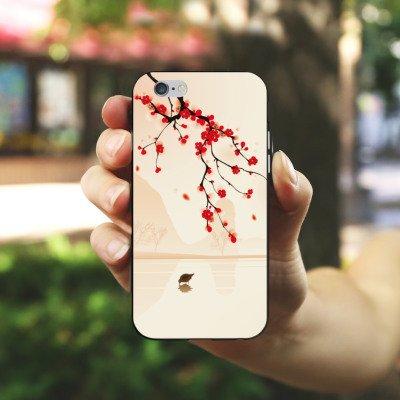 Apple iPhone X Silikon Hülle Case Schutzhülle Baumzweig Blätter Blüten Silikon Case schwarz / weiß