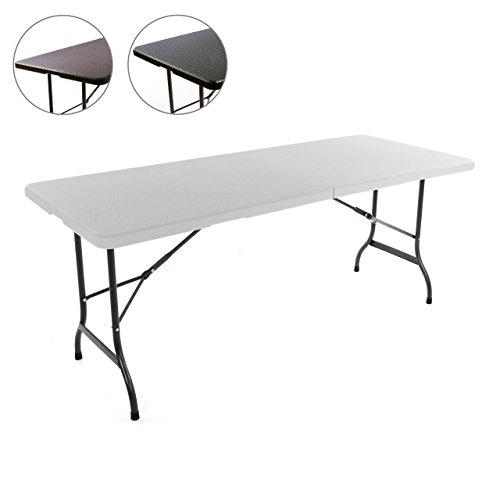 Nexos Klapptisch 183 x 76 x 74 cm Partytisch Catering Gartentisch klappbar Campingtisch bis 170 kg stabil robust wetterfest 18,5 kg Tragegriff weiß braun schwarz Farbe wählbar (Weiß)