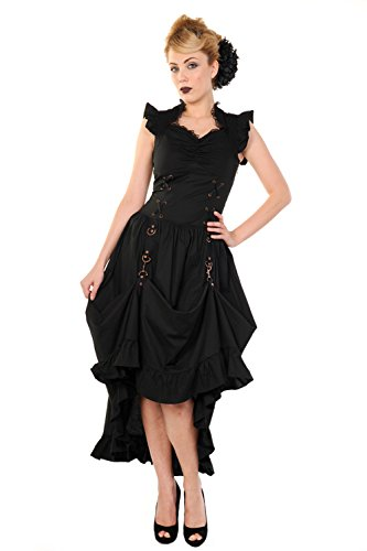 Banned Damen Gothic / Steampunk Maxi Kleid Ärmellos - Victorian Copper Dress Schwarz (S)