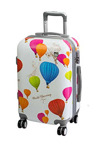 A2S Cabin gepäck ist leicht und langleib Hard Shell gedruckt Koffer mit 8 spiner räder Tasche (Flugzeuge) Luftschiff 55x35x22 cm. (Ballon) (Koffer Bunt)