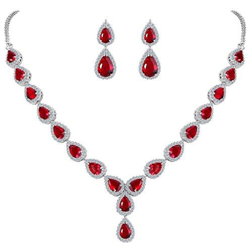 Clearine Damen Cubic Zirconia Boho Tropfen Unendlichkeit Hochzeit Y-Halskette Dangle Ohrringe Schmuck Set Rubin Rot