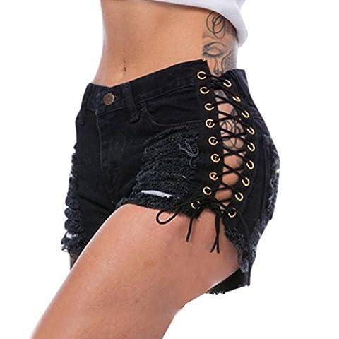 Shorts, Malloom Femmes Trou Détruit Haute Taille étirée Jeans Short En Jean Pantalons Chauds (L, Noir)