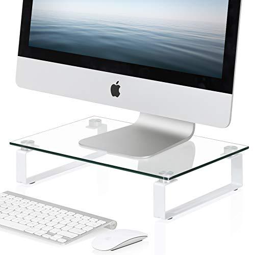 Fitueyes supporto monitor, supporto per computer portatile, supporto da scrivania, supporto da tavolo, monitor raiser, in vetro temperato, partata max 15kg, 38,5x24x7,9cm, dt103804gc