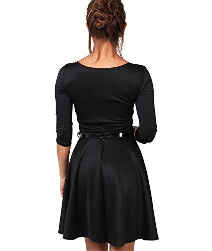 KRISP® Femmes Robe Evasée Elégante Uni Manches Longues Avec Ceinture Noir