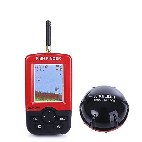 Outlife Tragbar Fischfinder für 0,6 - 45M Tiefe 100M Wireless Betriebsbereich mit Wireless Sonar Sensor Angeln Alarm