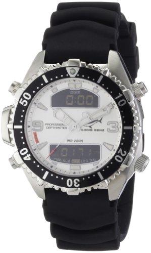 Chris Benz CB-D-SILVER-KB - Reloj digital de cuarzo unisex con correa de caucho, color negro
