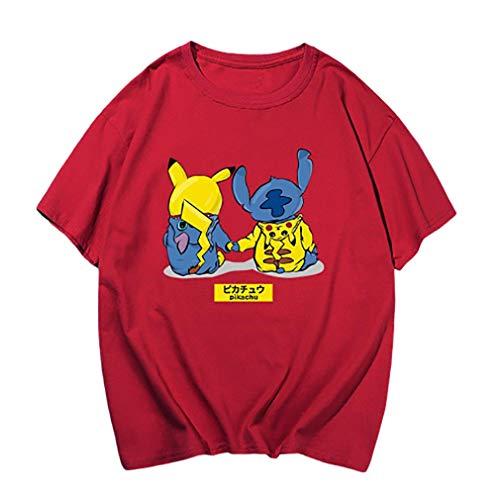 WQWQ Pokemon T-Shirt Shirt Pikachu Weihnachten Rundhals Kurzarm Pokémon Kostüme Männliche und weibliche Mode Pika Gift Festival,B,XXXL (Weibliche Pikachu Anime)