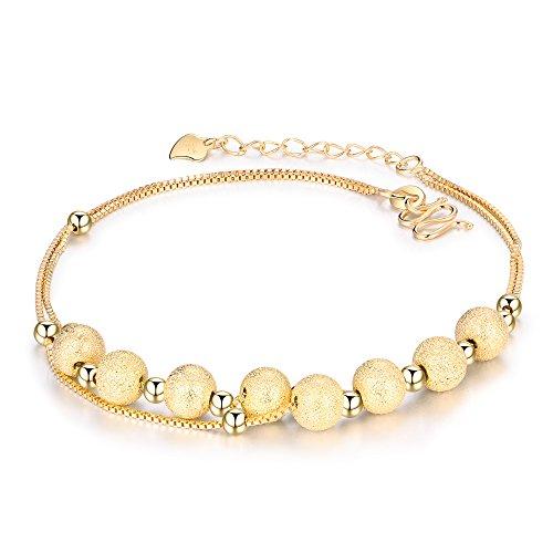 en Damen 925 Sterling Silber Gold Rosegold Doppel Kette mit glückliche Kugel Strand Sandale Barfuß Kette für Frauen und Mädchen 21-24cm verstellbar, Geschenkbox Verpackung ()