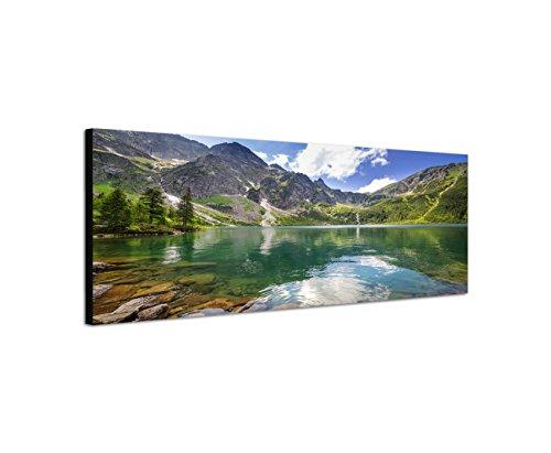 Keilrahmenbild Wandbild 150x50cm Polen Berge Bergsee Wolken Natur