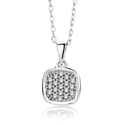 Miore Damen Weißgold Diamant Halskette und Pavé Anhänger 9KT (375) mit Brillanten 0.1 ct von 45 cm Goldkette