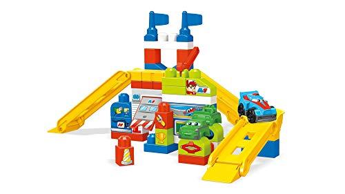 Mega Bloks Garaje de coches de carreras, juguete construcción bebé +1 año (Mattel FVJ02)