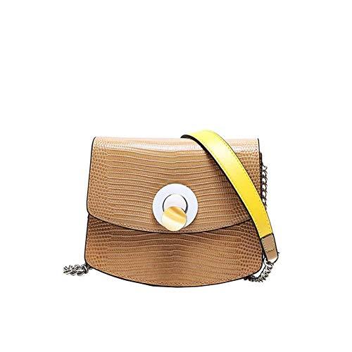 HWYP Damen Umhängetasche, Mode Leder Damen Tasche Umhängetasche Strukturierte Kette Breite Schultergurt Leder Crossbody Kleine Quadratische Tasche Schwarz Braun (Größe: 18 * 8 * 15 CM)-brown