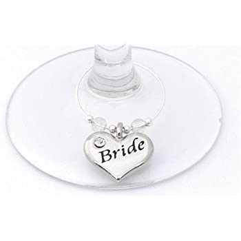 Bride and Groom Wine Glass Charms - Personalised Wedding Gift ...