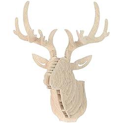 3D Modelo Ciervos Animales Escultura de Cabeza de Fauna Colgant de Pared Decoración Madera - 6