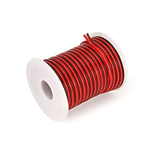 C-able 15.5M 50FT 18 AWG Gauge Electrical Wire Hookup Red Black Copper Stranded Auto 2 Wire Low Voltage 12v DC Wire for Single Color LED Strip Extension Cable Cord Spool
