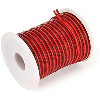 0,50€/m)5m LED Kabel Zwillingslitze 2x 0,50mm² schwarz/rot 2-adrig ...