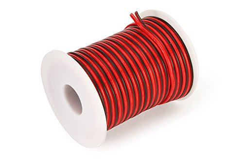C-able 15.5m Fil Électrique Basse Tension 12v 1mm Double Extensible Noir Rouge Torsadé Multibrin Câble