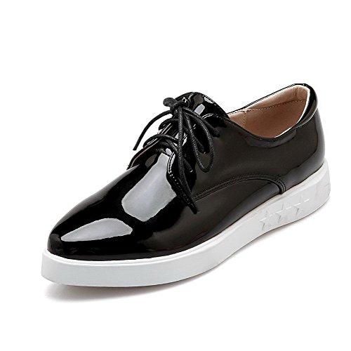 AalarDom Femme Pointu Verni à Talon Bas Lacet Chaussures Légeres Noir