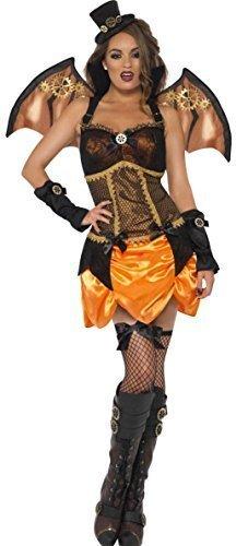 Ladies 4-Steampunk, pipistrello vampiro Sexy con ali & Halloween Fancy Dress-Costume da donna
