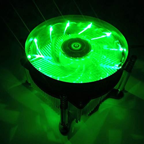 Price comparison product image Ocamo 12V Silent Computer Case 3pin CPU Cooling LED Lighting Cooler Fan CPU Heatsink Intel 115X platform green light fan Intel 115X platform green light fan