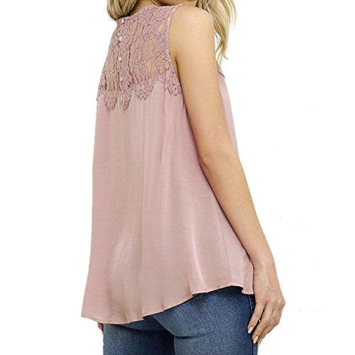 LAEMILIA Damen Spitze Chiffon Bluse T-Shirt Ärmellos Casual Tops Hemd Pink Weiß Pink
