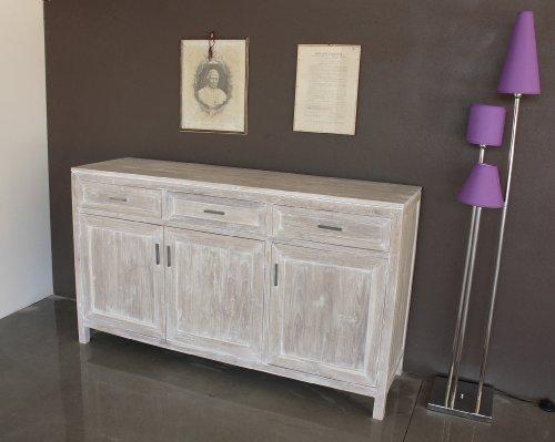 Madia buffet 3 ante stile Shabby Chic bianco effetto vintage - in legno massiccio di TEAK. Elaborazione e finitura realizzate in Italia.