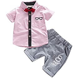 Moneycom Baby Girl Birthday Jupe Tulle Ceremonie Sunny Fashion Outfit Ensemble Toddler Enfants Garçons Manches Courtes Bowtie Sunglass Imprimer T-Shirt Tops + Pantalons Tenues Rose(2-3 Ans)