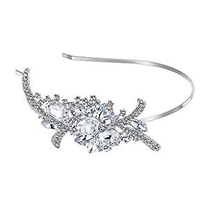 EVER FAITH Damen Haarband Strass Kristall Braut Blume Bouquet Haar Stirnband Crown Klar Silber-Ton