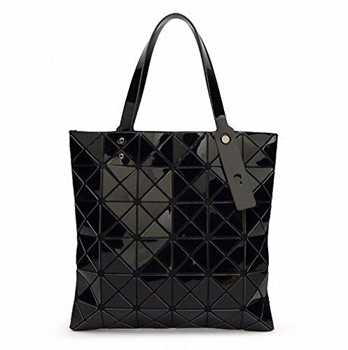 Borsa Borsetta donna geometrica ripiegata Plaid moda Borsa Tote casual donna Borsetta tracolla blu cielo piccola Black