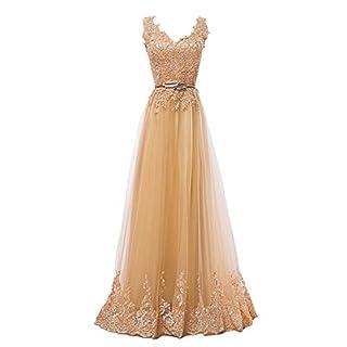 Fanhao Frauen Stickerei Plume Gürtel Schnürung Gold Lange Brautjungfer Kleid 476f2f0fc8