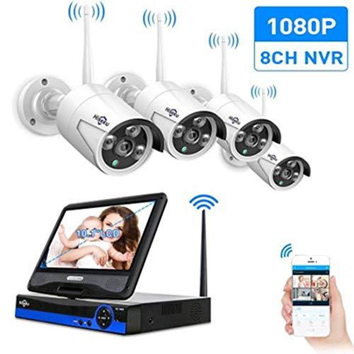 CCJT Überwachungskamera Outdoor Wireless 1080P 4-Kanal-NVR-Recorder Wireless mit 4 Stück 2,0-Megapixel-WiFi-Kamera-Video-Set für die Bewegungserkennung Nachtsicht