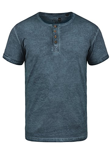 Baumwolle Tipped Pullover Mit V-ausschnitt (!Solid Tihn Herren T-Shirt Kurzarm Shirt mit Grandad-Ausschnitt Aus 100% Baumwolle, Größe:L, Farbe:Insignia Blue (1991))