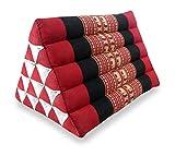 Großes Dreieckskissen als Rückenstützkissen, Thaikissen bzw. Keilkissen, Nackenkissen fürs Bett (rot / Elefanten)