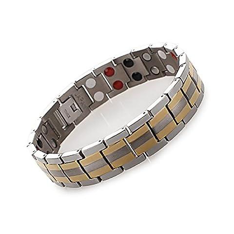Dr. Kao® Silver Black Color Titanium Magnetic Therapy Bracelet for