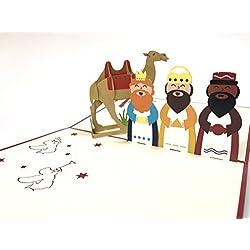 Tres hombres sabios Árbol de Navidad Papá Noel Muñeco de nieve Reno, Navidad 3d Pop Up Tarjetas de felicitación día nueva casa año nuevo día de Acción de Gracias Navidad