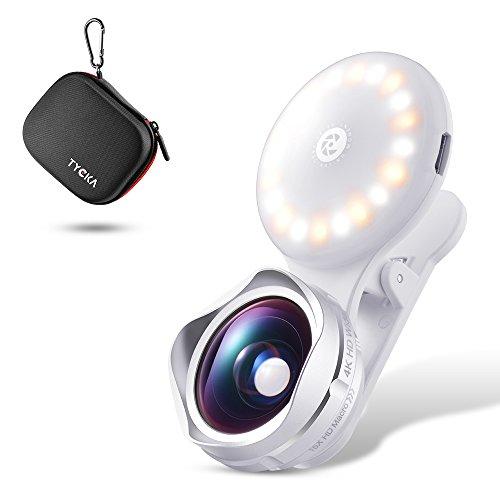 TYCKA Obiettivo Telefono Cellulare con Luce a LED per Selfie, Lente Macro 15X e Lente Grandangolare di 110°, Luce di Riempimento con Luminosità Regolabile su 3 modalità per iPhone 8 7, 6s 6s Plus