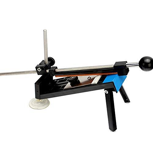 DKEyinx Edelstahl Schleifstein-Schärfer-Set, Profi-Küchen-Fix-Winkelschleifstein-Werkzeug, Stabilere Saugscheibenbasis, mit 4 hochwertigen Steinen, 180/400/800/1500 Schwarz