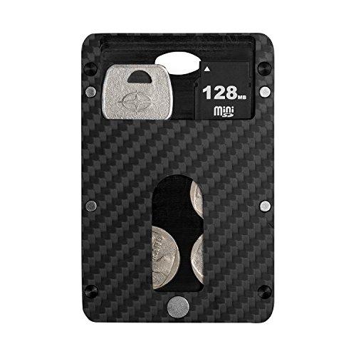 pitaka Geldbörse für Karten, PITAKA [MagWallet] Extra Dünne Magnetische Kohlefaser Brieftasche Hochwertige Module Kreditkarten Etui Kleine Geldbeutel mit RFID-Schutz - Münzfach