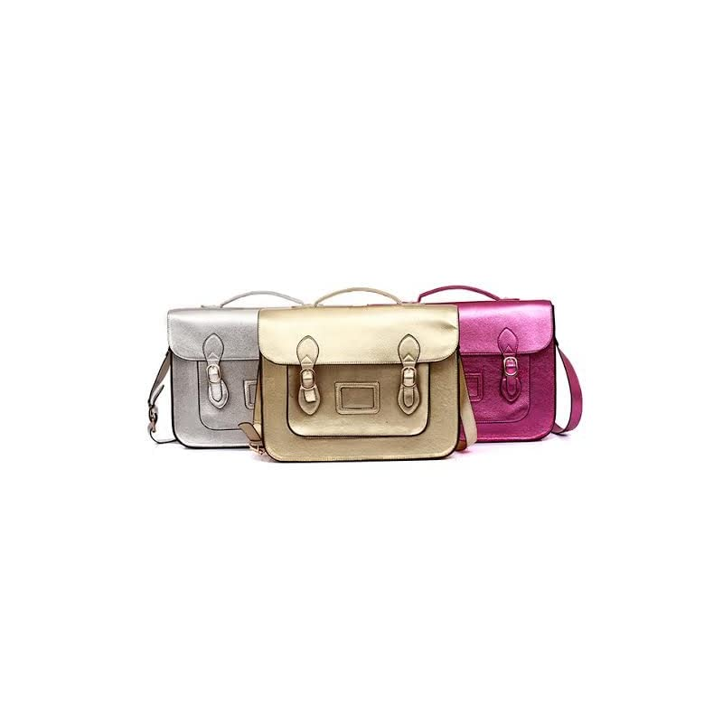 """Vintage Large YASMIN BAGS 13.5"""" Unisex Faux Leather Satchel/Cross Body Bag – with FREE USB stick keychain"""