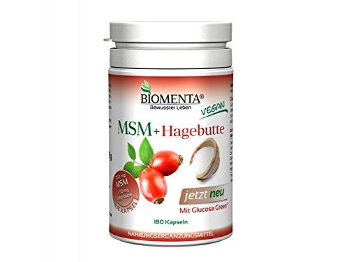Biomenta® MSM-Schwefel + HAGEBUTTE und GLUCOSAMIN-SULFAT   180 VEGANE MSM-Kapseln u. a. bei (Gelenk)-Schmerzen - Allergien - Haut-Gewebeproblemen   3 Monatskur