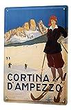 LEotiE SINCE 2004 Targhe Cartello Targa in Metallo Decorazione della Parete Giramondo Località sciistica di Cortina D' Ampezzo