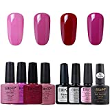Elite99 UV Nagellack, Gel Nagellack UV LED, Farben Set für Nageldesign Gel Polish, 8 Stück Maniküre set, Base Coat und Top Coat, Matter Top Coat, Primer, Soak off Gel Nagellack für Nail Art - 005