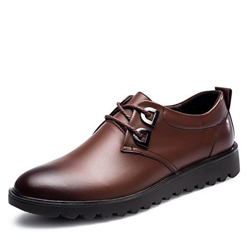Loafer Weichen Sohlen Leder Schuhe (Herren Formal Wear Hochzeit Schuhe Business Casual Schuhe Erste Schicht Aus Leder Weiche Teig Spitze Atmungs Hand Genähte Schuhe,Brown-38)