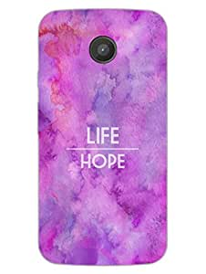 Moto E Back Cover - Life Vs Hope - Typography - Designer Printed Hard Shell Case