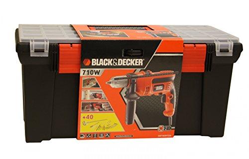 Black&Decker Schlagbohrmaschine 710W mit 40-tlg Zubehöhr + Koffer CD714CRT22A - 3