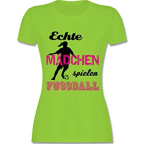 Shirtracer Fußball - Echte Mädchen Spielen Fußball - Schwarz - Damen T-Shirt Rundhals Hellgrün