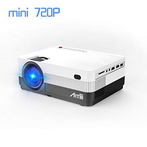 Artlii Mini Beamer HD tragbarer LCD Video Projektor Full HD Unterstützung HDMI*2 VGA USB AV SD, verbunden mit TV Fire Stick Laptop Smartphone/iPad Xbox Serie 1080p Lcd