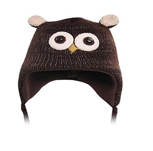 eiche Tiermütze Tier Mütze Plüsch Plüschmütze Verkleidung Strickmütze Bommelmütze braun Vogel Eule (Süße Tier Kostüme Für Jugendliche)