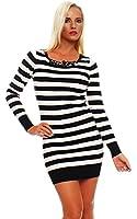 5476 Fashion4Young Damen Strick Minikleid LongPullover Pullover Pulli Long Shirt Kleid in 4 Farben